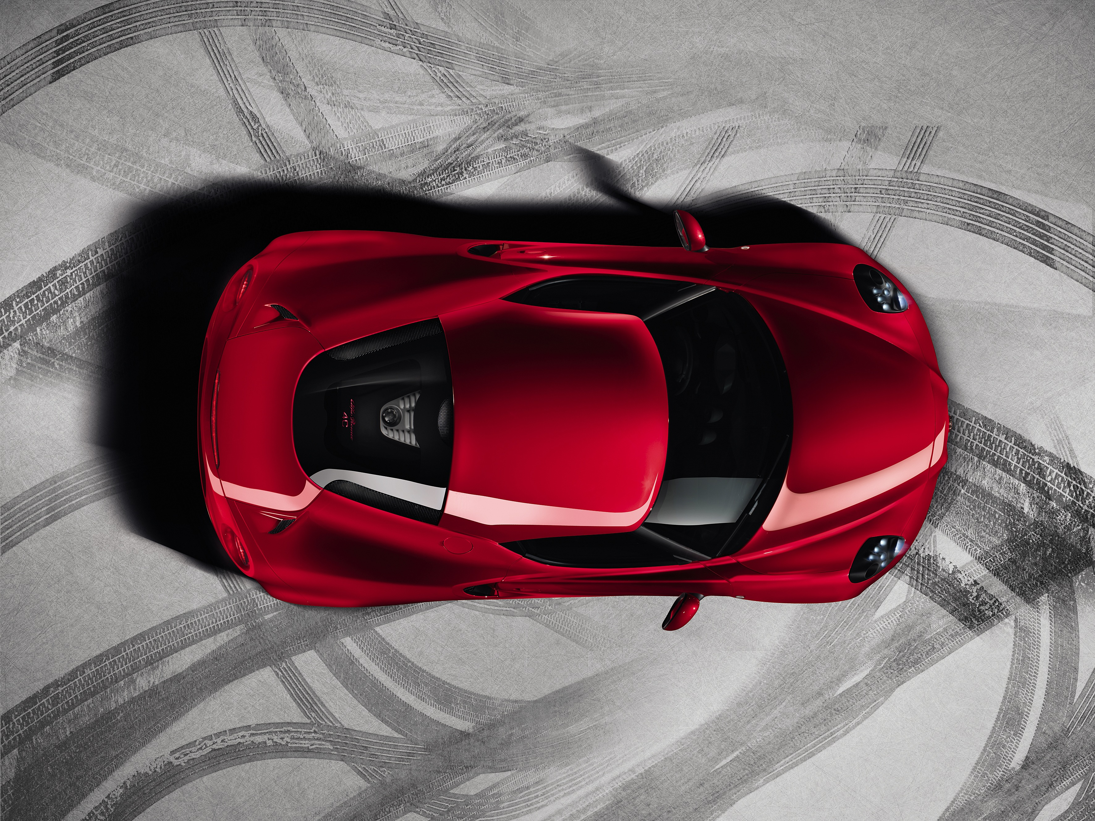 Alfa Romeo 4C 2013 Production Model High Resolution Carbon top view showing small size