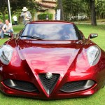 Alfa Romeo 4C Cherry Red Metallic Concorso d'Elegance Villa d'Este 2012 front shade