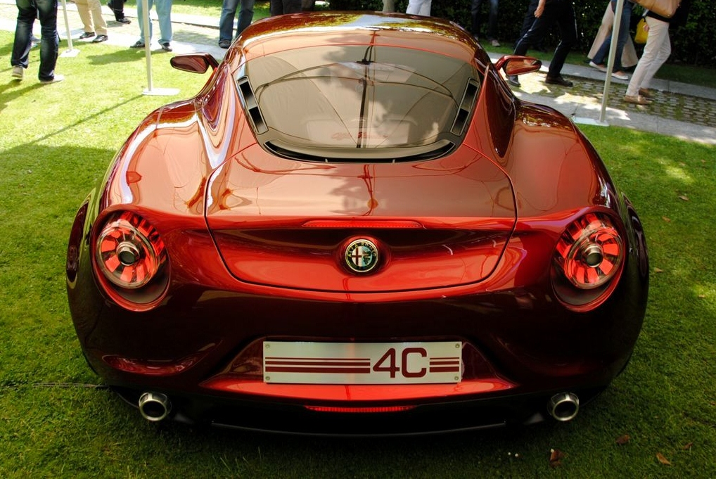 Alfa Romeo 4C Cherry Red Metallic  Concorso d'Elegance Villa d'Este 2012 rear high