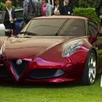 Alfa Romeo 4C Cherry Red Metallic Concorso d'Elegance Villa d'Este 2012 shade front