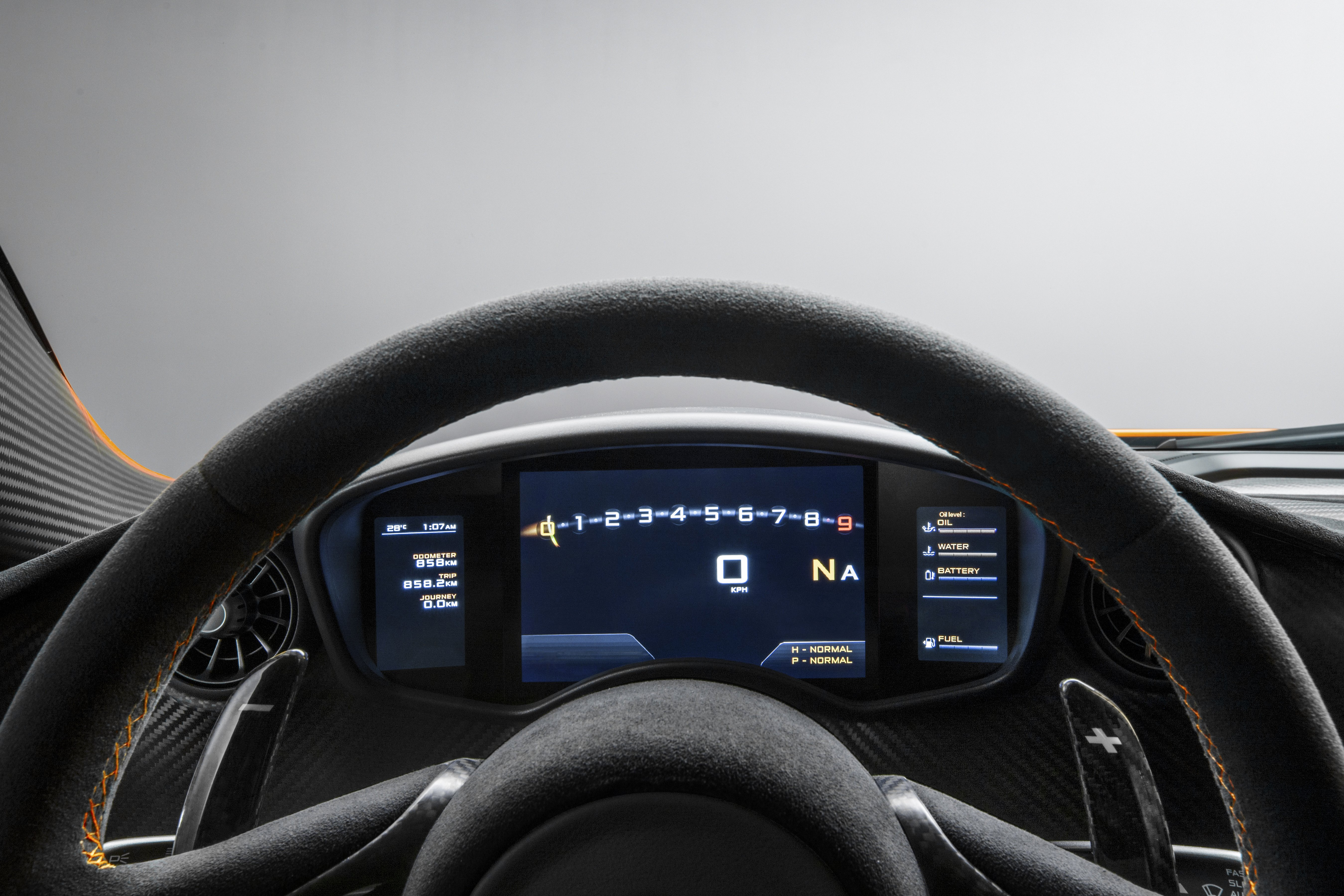 McLaren P1 2013 Interior Carbon steering wheel and dashboard detail High Resolution
