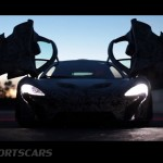 McLaren P1 Nurburgring Testing High Resolution Front Low profile with lights on doors open