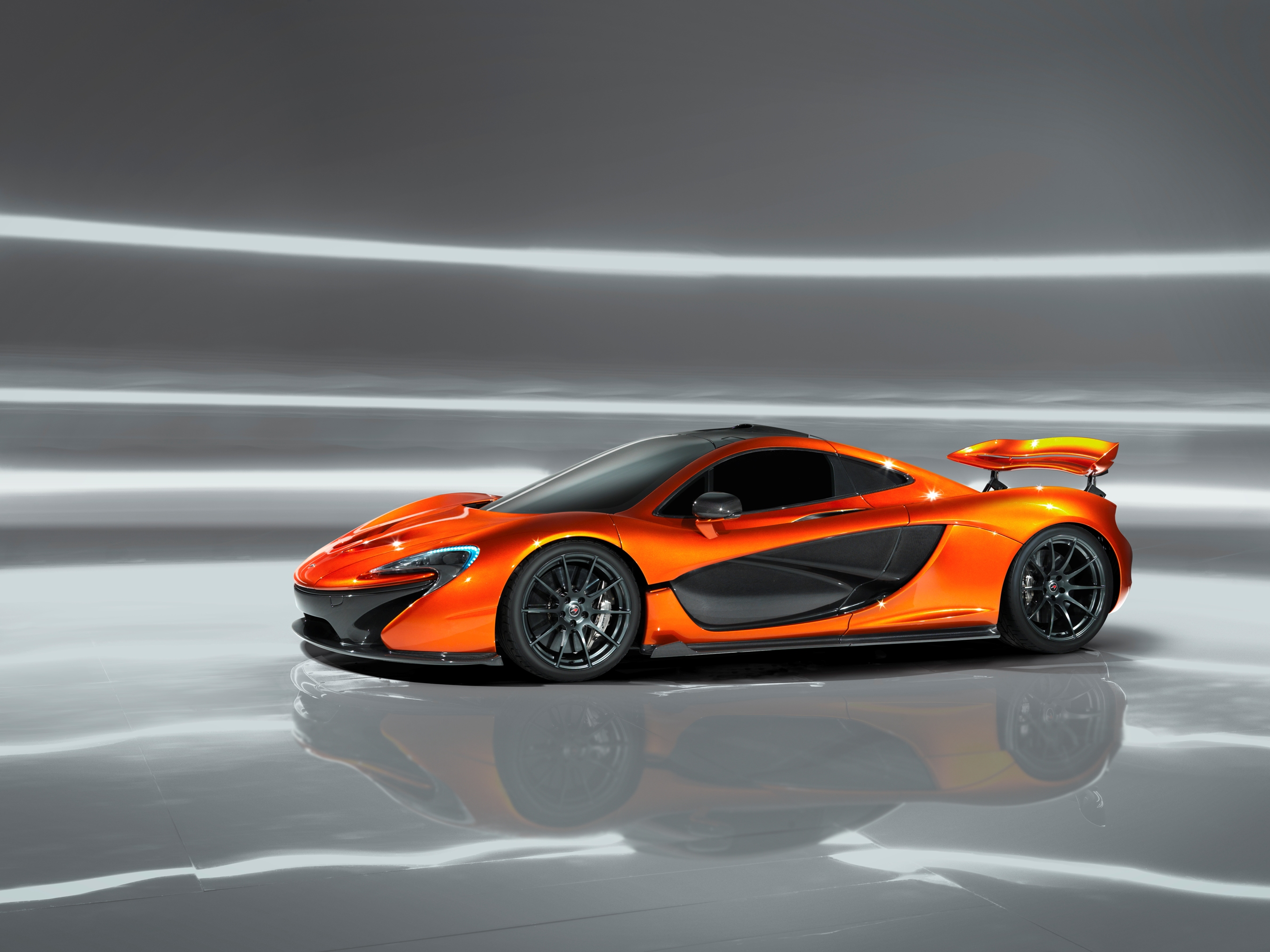 McLaren P1 Paris design concept - profile with wing raised