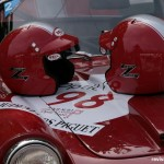 Race helmets closeup
