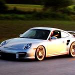 Porsche 911 GT2 997 silver sunset