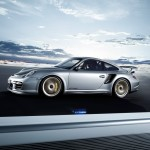 Porsche 911 GT2 RS 997 silver side profile motion