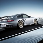 Porsche 911 GT2 RS 997 silver side rear motion