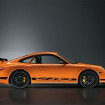 Porsche 911 GT3 RS 997 black orange profile