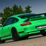 Porsche 911 GT3 RS 997 green orange rear profile