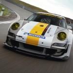 Porsche 911 GT3 RSR 997 silver white front low track