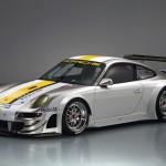 Porsche 911 GT3 RSR 997 silver white front profile side studio