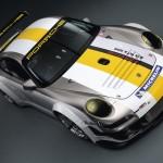 Porsche 911 GT3 RSR 997 silver white front top