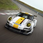 Porsche 911 GT3 RSR 997 silver white front top track