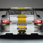 Porsche 911 GT3 RSR 997 silver white rear profile