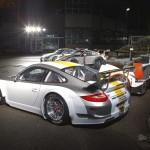 Porsche 911 GT3 RSR 997 silver white rear profile motorsport lineup