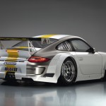 Porsche 911 GT3 RSR 997 silver white rear profile studio