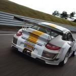 Porsche 911 GT3 RSR 997 silver white rear track