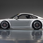 Porsche 911 GT3 RSR 997 silver white side profile