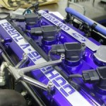 Ford Escort Cosworth Engine Bay closeup blue top