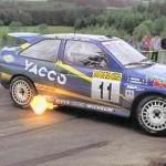 Ford Escort Cosworth Rally Car flames sideways
