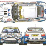 Ford Escort RS Cosworth rally card design mobil1