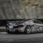 McLaren P1 Nurburgring Testing High Resolution Rear Angle Camouflage Blue Flame Overun