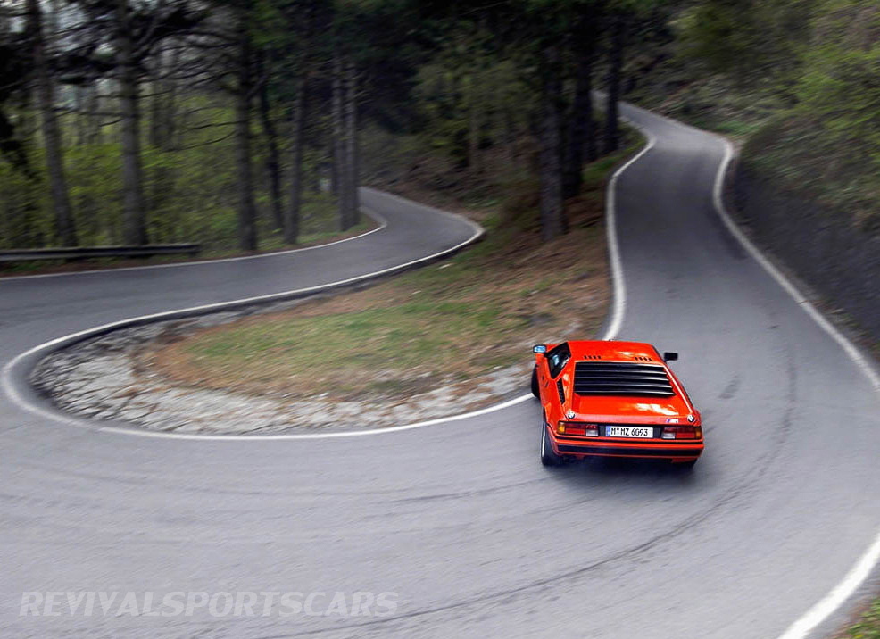 BMW M1 Supercar 1978 Lamborghini red drifting b road