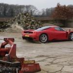 Ferrari Enzo WRC hooning rally off road extreme front farm track drifting in mud