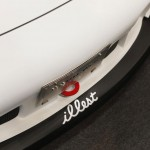 RWB Porsche 911 Rauh-Welt Begriff 993 convertible in white spearmint rhino front splitter tow hook detail