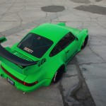 RWB Porsche 911 Rauh-Welt Begriff Green 964 Pandora One Aerial shot