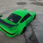 RWB Porsche 911 Rauh-Welt Begriff Green 964 Pandora One Aerial shot