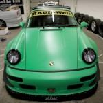 RWB Porsche 911 Rauh-Welt Begriff green bonnet view 964
