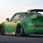 RWB Porsche 911 Rauh-Welt Begriff pandora one green rear view stance