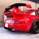 RWB Porsche 911 Rauh-Welt Begriff red rear diffuser and spoiler detail