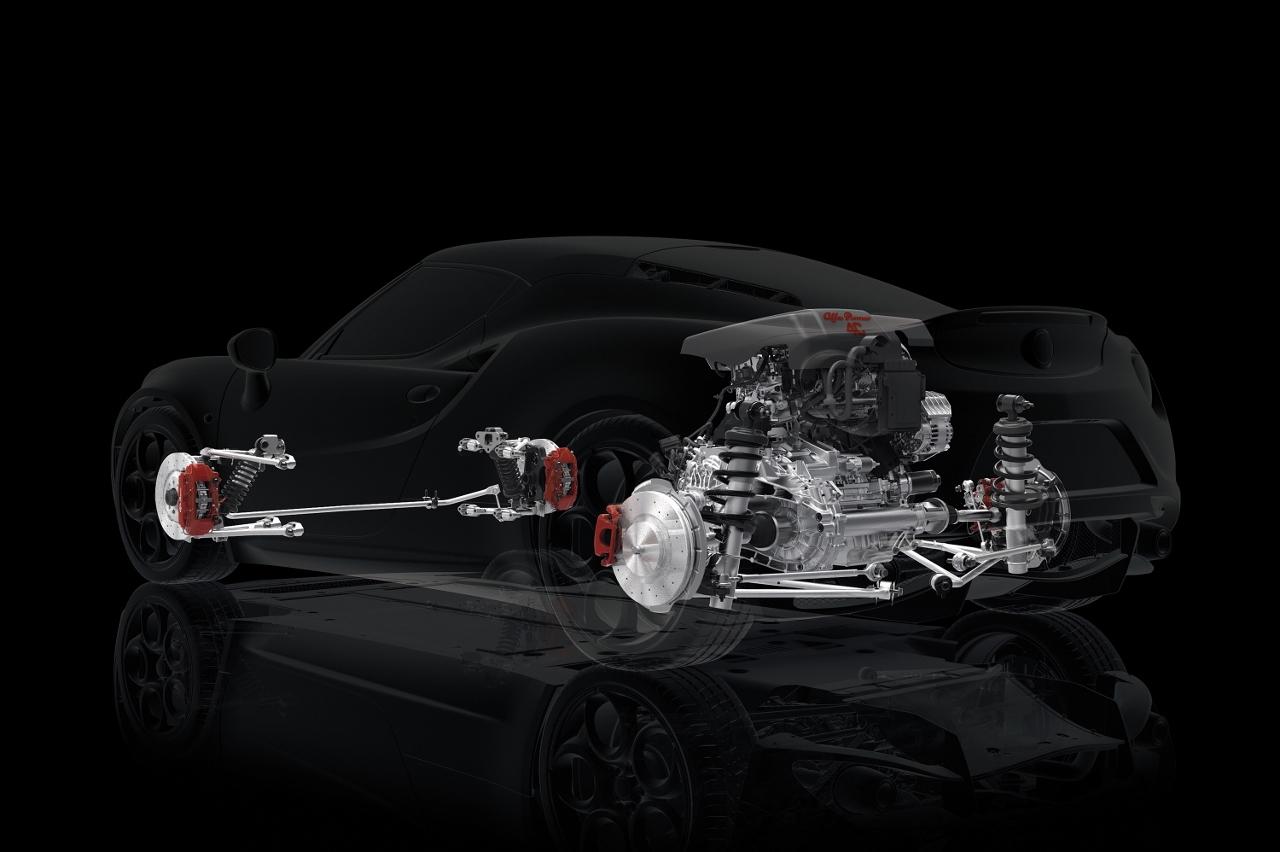 Alfa Romeo 4C UK  2014 Red powertrain x ray look through engine (1280x852)