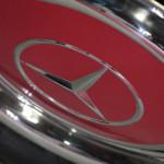Lancaster Insurance Classic Car Show NEC (247 of 250) Mercedes wheel cover angle closeup