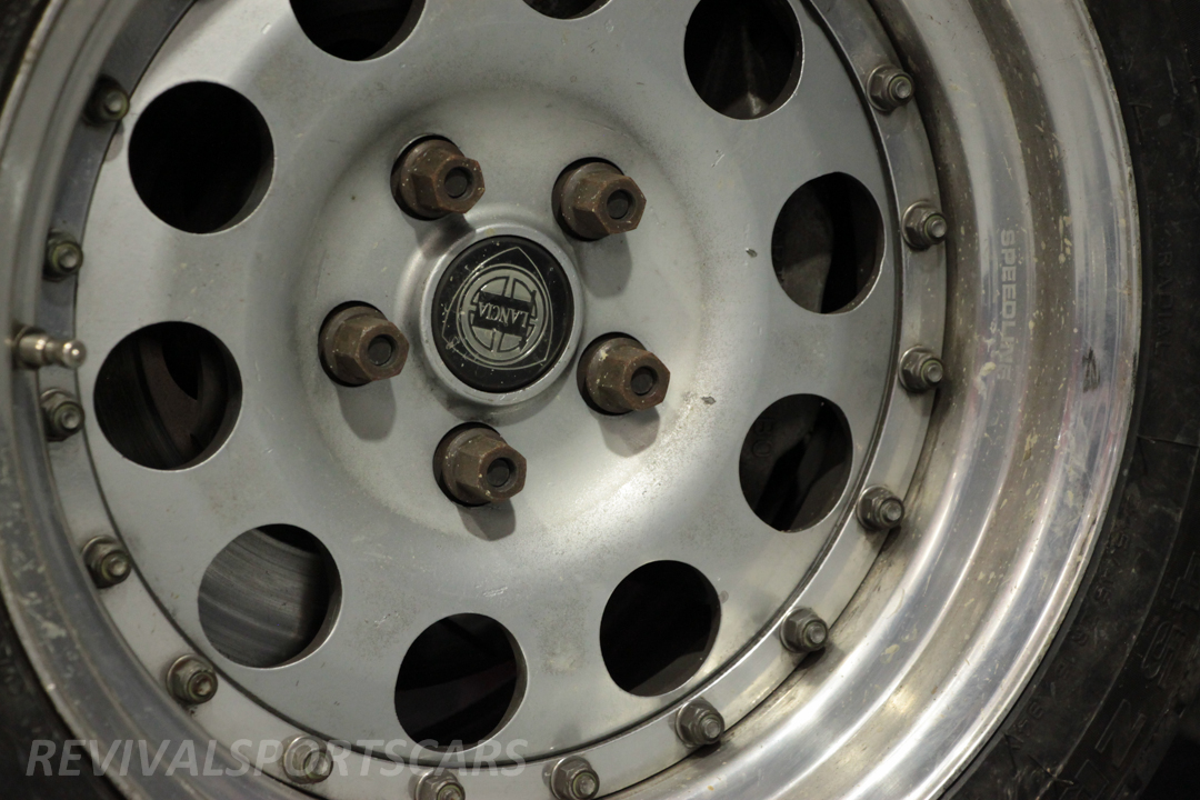 Race Retro 2014 Classic Motorsport 1988 Lancia  037 Rally car alloy wheel closeup