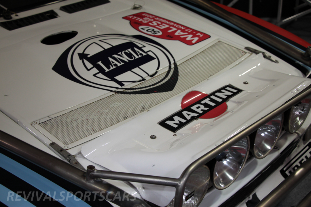 Race Retro 2014 Classic Motorsport 1988 Lancia  037 Rally car bonnet closeup