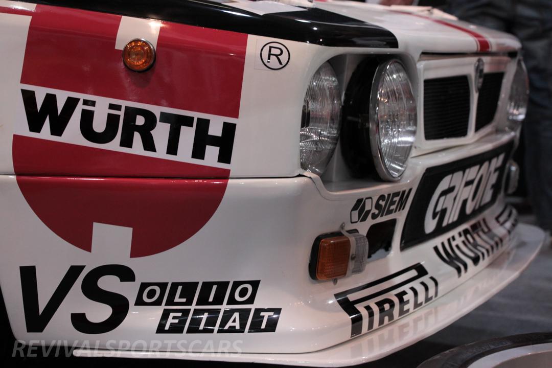 Race Retro 2014 Classic Motorsport 1988 Lancia  037 Rally car front closeup