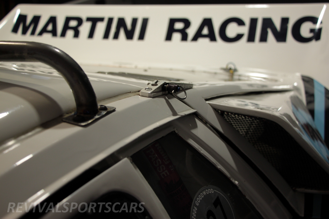 Race Retro 2014 Classic Motorsport 1988 Lancia  037 Rally car rear wing and hinge