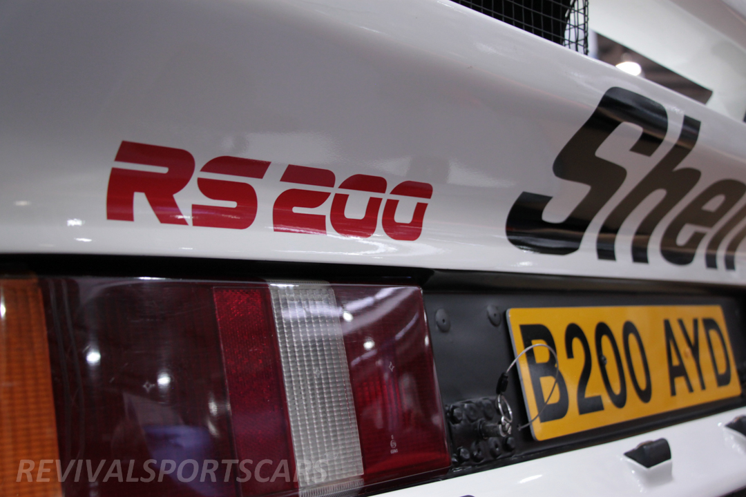 Race Retro 2014 Classic Motorsport Ford RS200 rally car rear badge