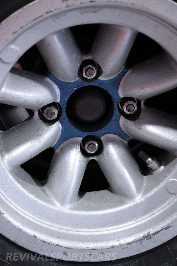 Race Retro 2014 Classic Motorsport Talbot Sunbeam Rally Car wheel closeup